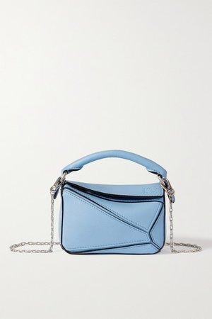 Puzzle Nano Textured-leather Shoulder Bag - Blue