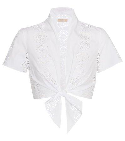 Alaïa - Broderie anglaise cotton crop top | Mytheresa