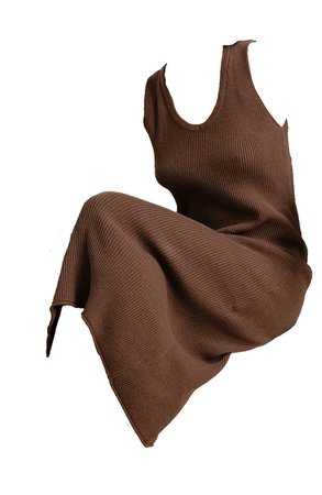 brown knit loose dress