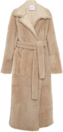 Agnona Belted Shearling Trench Coat