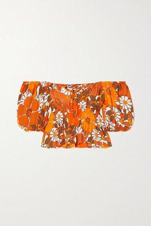 Net Sustain Liberia Shirred Floral-print Crepe Top - Orange