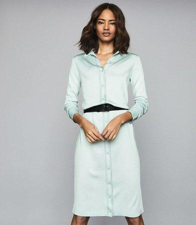 Lettie Pale Blue Knitted Midi Dress – REISS