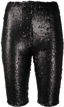 sequinned biker shorts