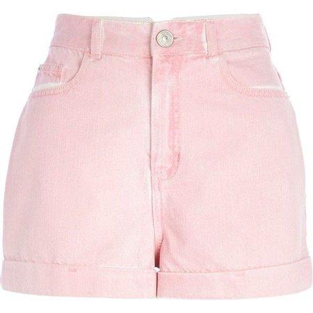 River Island Pink High Waisted Denim Shorts