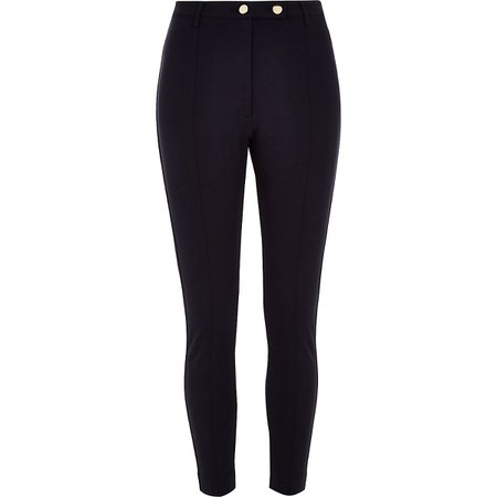 Navy button ponte skinny trousers - Skinny Trousers - Trousers - women