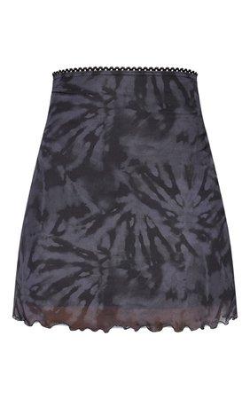 Black Tie Dye Mesh Lettuce Hem Mini Skirt | PrettyLittleThing USA