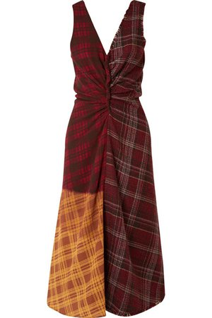 Acne Studios | Patchwork checked wool-tweed and crepe dress | NET-A-PORTER.COM