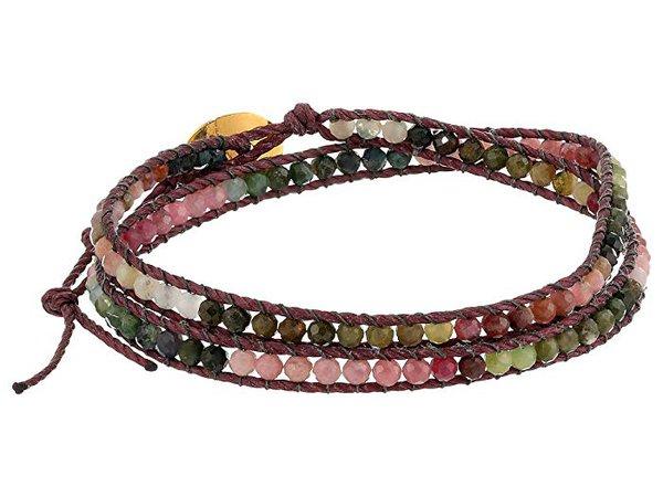Chan Luu Double Wrap Bracelet with Tourmaline and Semi Precious Stones