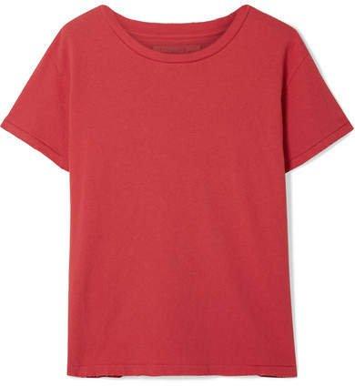 Brady Distressed Cotton-jersey T-shirt - Red