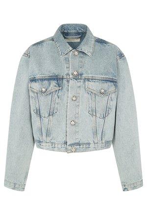 Джинсовая куртка из хлопка Alessandra Rich Куртка Голубой на BABOCHKA.RU