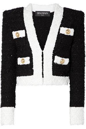 Balmain | Cropped embellished tweed blazer | NET-A-PORTER.COM