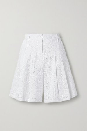 Hanna Pleated Broderie Anglaise Cotton Shorts - Ivory