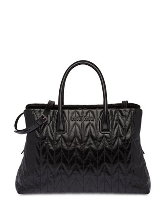 Miu Miu, Logo Plaque Quilted Tote Bag