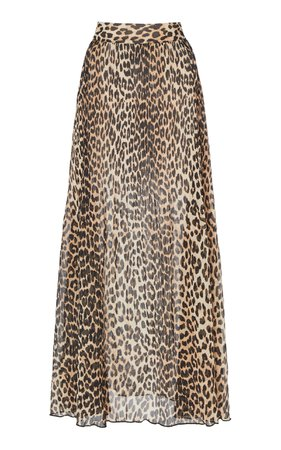 Ganni Georgette Pleated Leopard Maxi Skirt Size: 36