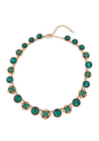 Napier Gold Tone Green Velvet Collar Necklace