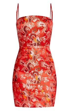 Red Printed Oriental Satin Bodycon Dress   PrettyLittleThing