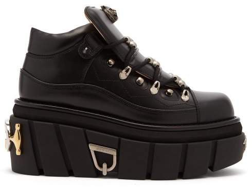 Koire Oversized Leather Flatform Trainers - Womens - Black
