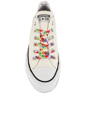 Converse Chuck Taylor All Star Garden Party Platform Sneaker in Egret, White, & Bright Poppy | REVOLVE