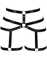 Women's full body harness bra Chest strap Leather Waist belt lingerie cage set Waist belt Punk gothic Dance Photography Rock (Red) at Amazon Women's Clothing store