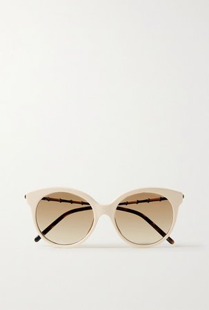 Ivory Round-frame acetate and gold-tone sunglasses | Gucci | NET-A-PORTER