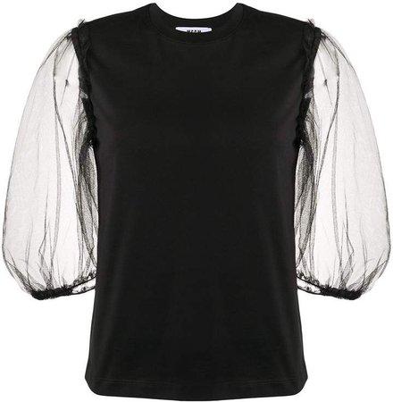 sheer puff sleeve T-shirt