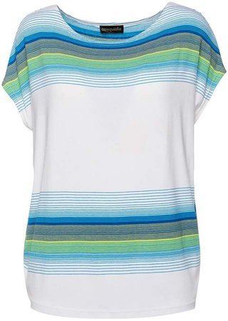 Conquista White Sleeveless Top With Striped Print