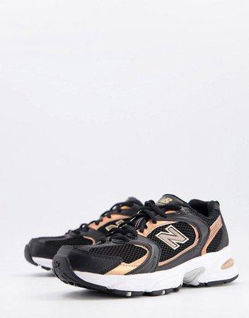 New Balance 530 metallic sneakers in black   ASOS