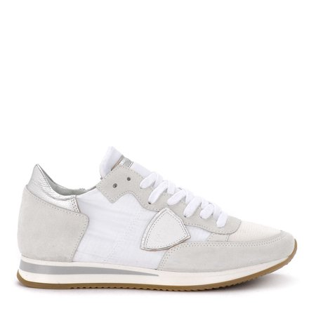 Philippe Model Tropez White Suede And Fabric Sneaker