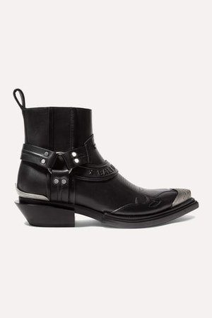 Santiag Leather Ankle Boots - Black