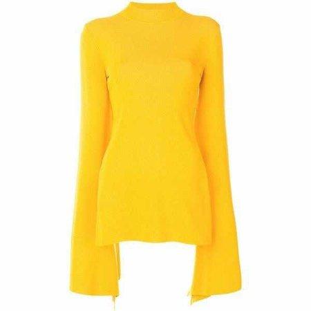 Yellow Long Sleeve Short Dress
