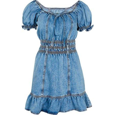 Blue short sleeve frill hem denim mini dress   River Island