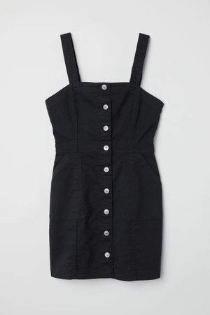 Bib Overall Dress - Black