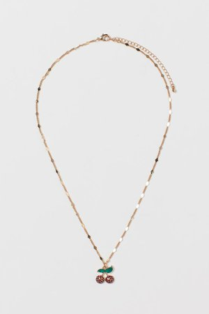 Pendant Necklace - Gold-colored/cherries - Ladies | H&M US