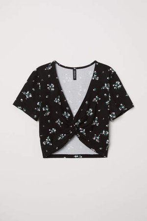 Short Top with Tie Detail - Black