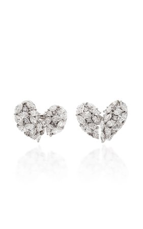 Yeprem 18K White Diamond Stud Earrings