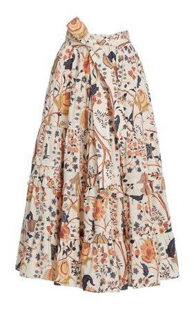Sigrid Floral Cotton Midi Skirt By Ulla Johnson   Moda Operandi