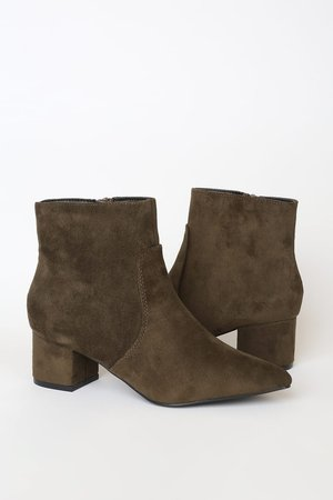 Olive Green Boots - Vegan Suede Boots - Pointed Toe Ankle Booties