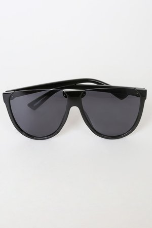 Black Sunglasses - Shield Sunglasses - Semi Rimless Sunglasses