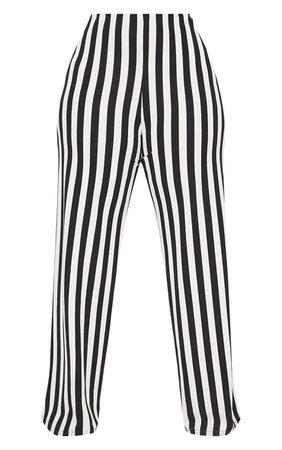 Plus Black High Waisted Crepe Stripe Wide Leg Pants | PrettyLittleThing USA
