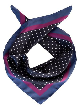 Italian Mens Silk Neckerchief - Navy Polka Dot