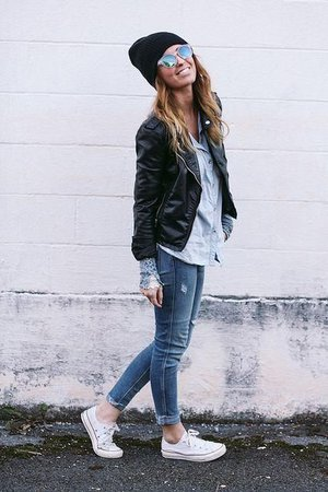 skinny jeans and black converse leather jacket - Google Search