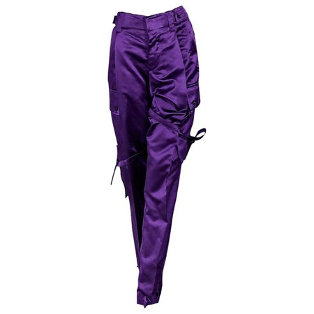 Purple Vintage Gucci Silk-Blend Cargo Pants For Sale at 1stdibs