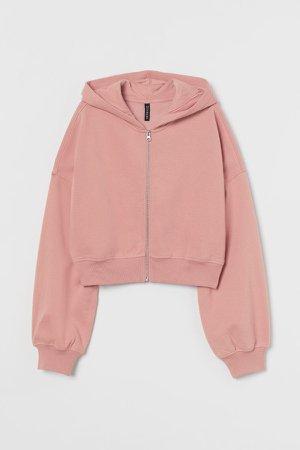 Short Hooded Sweatshirt Jacket - Pink