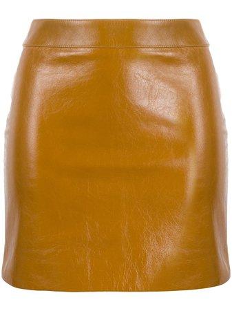 Saint Laurent high-waist calf leather mini skirt - FARFETCH