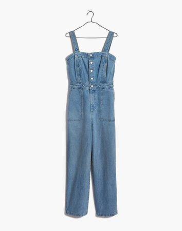 Denim Stitched-Strap Jumpsuit blue