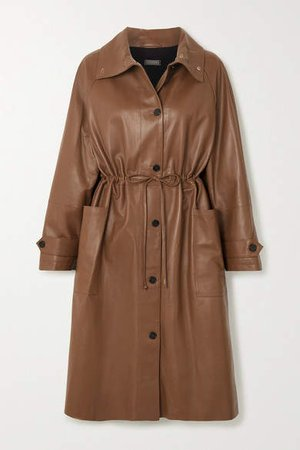 Leather Coat - Brown