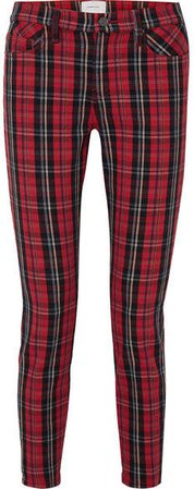 The Stiletto Tartan Mid-rise Skinny Jeans - Red
