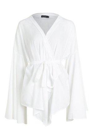 Extreme Sleeve Tie Wrap Kimono Blouse   Boohoo