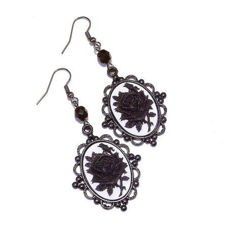 Gothic Black & White Rose Earrings