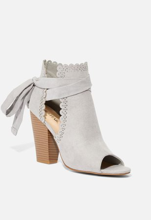 Just For Fun Scalloped Open Toe Bootie in Gray - Get great deals at JustFab